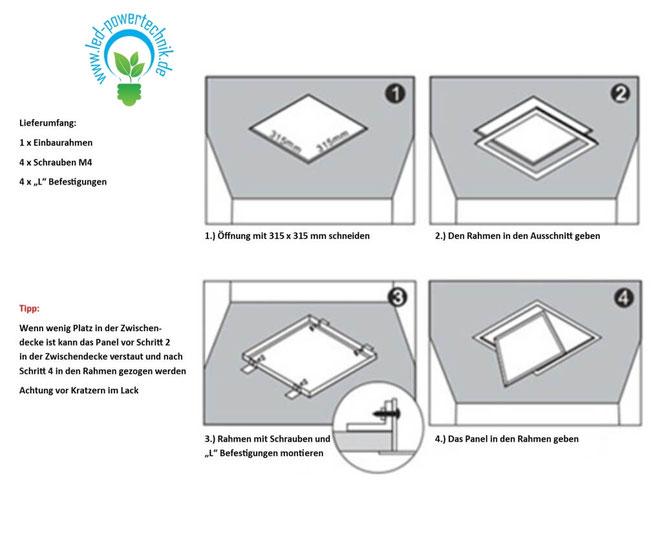 Gut bekannt Einbaurahmen LED Panel für Gipskarton & Deckenausschnitte 30x30 KF56