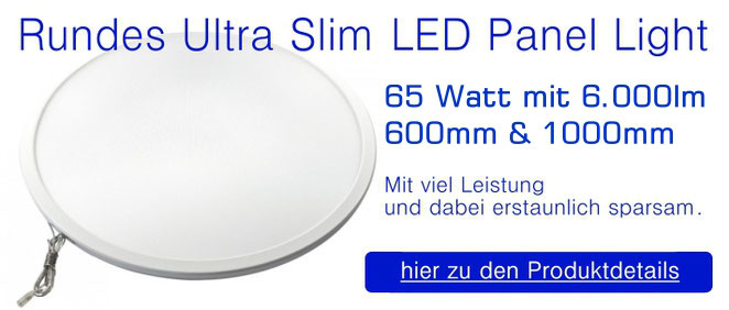 Rundes Ultra Slim LED Panel Light 60 Watt mit 5.000 Lumen - 580mm / Up & Down
