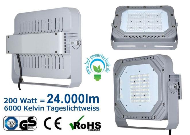 LED Fluter, Strahler, 200W, tageslichtweiss, silber, TüV