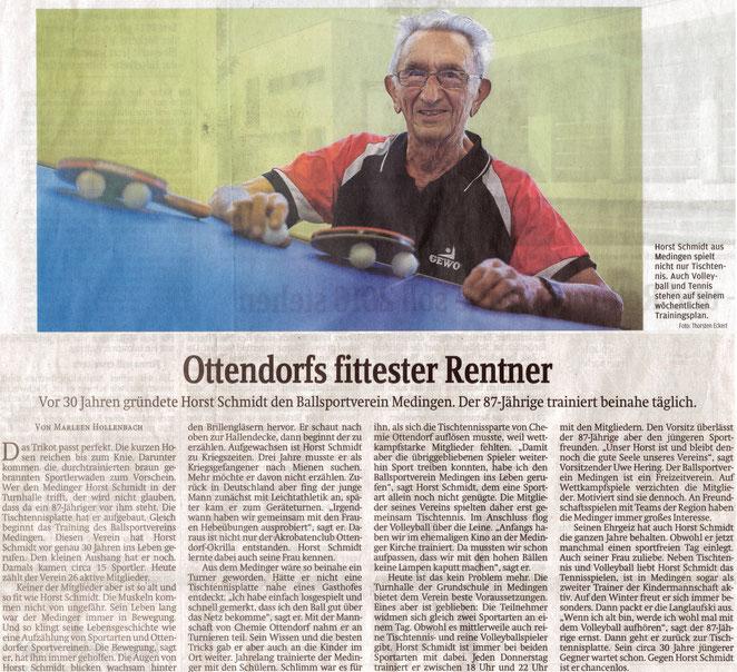 Zeitungsartikel 'Ottendorfs fittester Rentner'