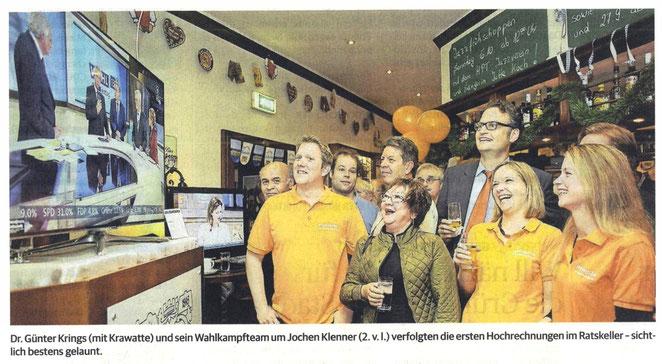 Die CDU-Wahlparty mit Dr. Günter Krings vom 22.09.2013 im Ratskeller Rheydt