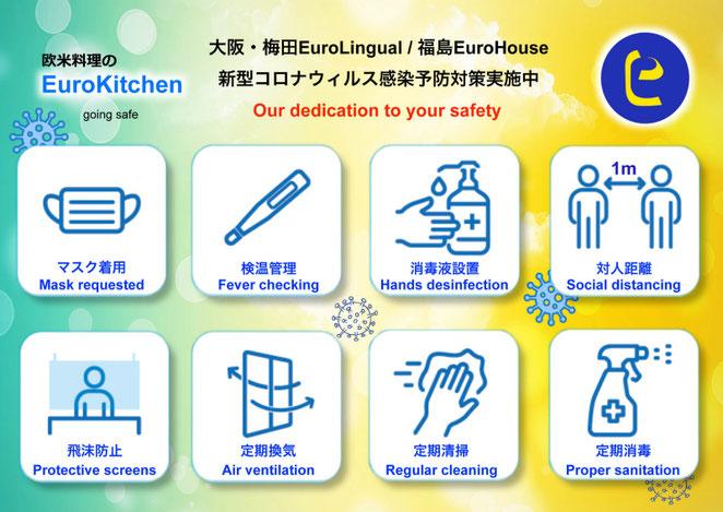 大阪・福島 欧米料理のEuroKitchen-CoVid-19 Measures