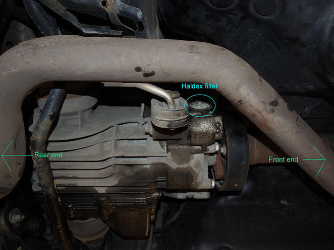 Место размещения фильтра Haldex на автомобиле