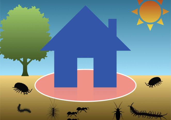 不快害虫が近づけないように薬剤散布してある住宅