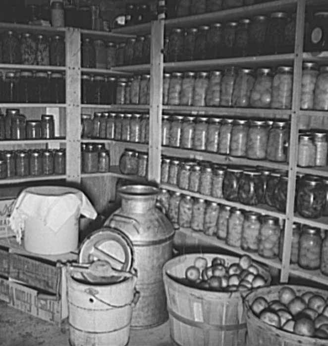 A super root cellar of 800 jars - Farm Security Administration