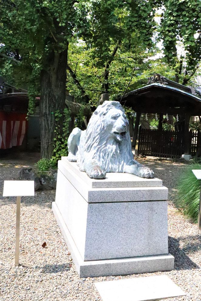 あじさい鍼灸マッサージ治療院 三囲神社のライオン像
