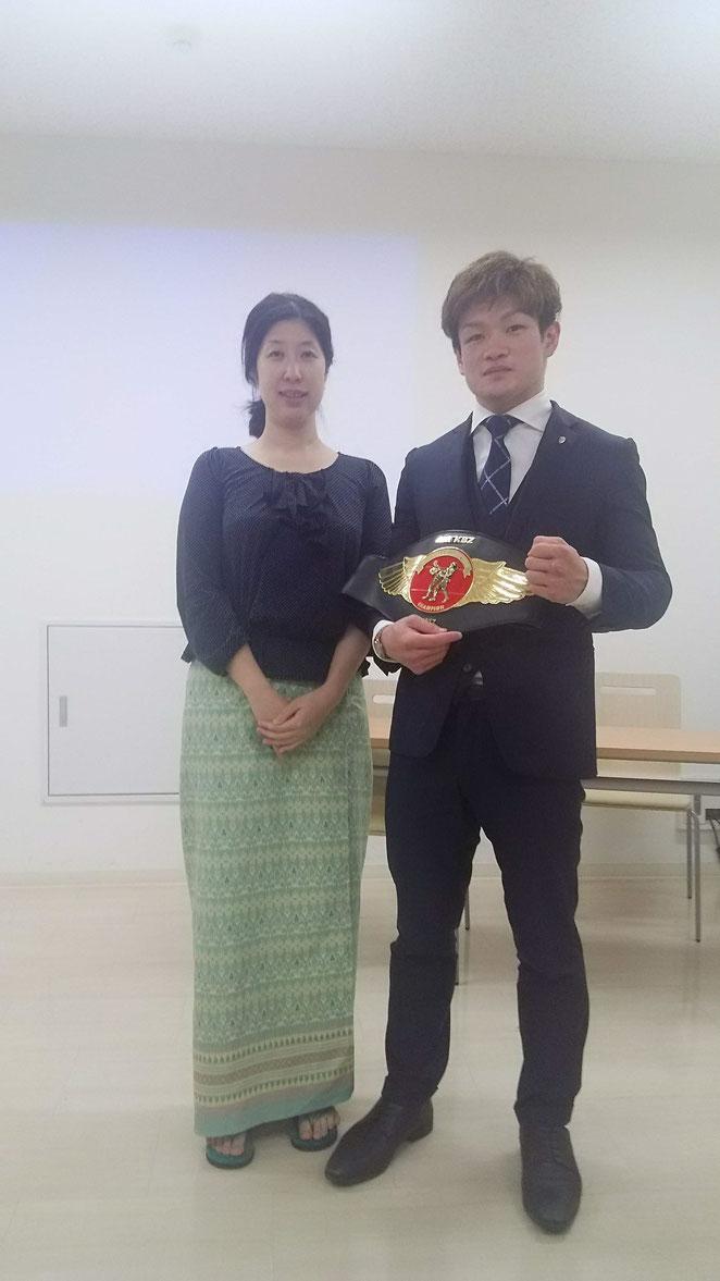 あじさい鍼灸マッサージ治療院 SOSIA代表甲野綾子と金子大輝選手