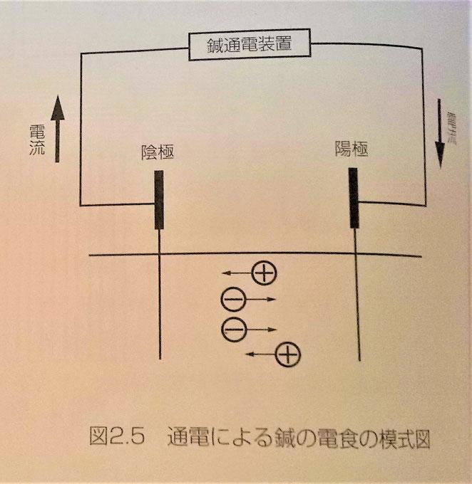 鍼通電療法テクニック14頁より 電食の模式図
