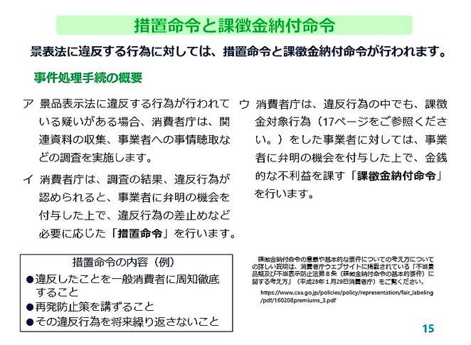 消費者庁資料 措置命令と課徴金納付命令