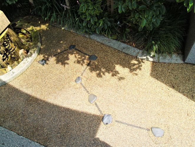 あじさい鍼灸マッサージ治療院 晴明井の前に置かれた北斗七星の石