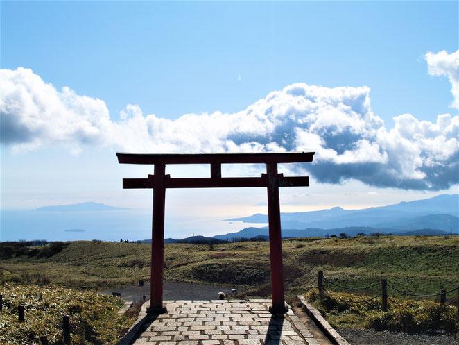 あじさい鍼灸マッサージ治療院 箱根神社元宮の鳥居。同じ高さに雲が見える。
