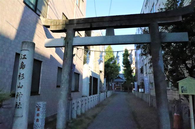 あじさい鍼灸マッサージ治療院 住宅地の一角にある江島杉山神社