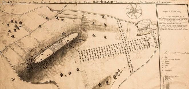 """""""Plan des pocefsions qui doivent former le parc projetté par M le Marquis d'Autichamp Brigadier des armées du Roy commandant de la Gendarmerie"""""""