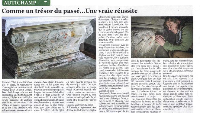 """Journal """"Le Crestois"""" du 14 octobre 2016"""