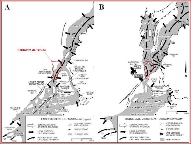 Sillon subalpin du Burdigallien d'aprés Sissingh 2001 (périmètre de l'étude de Remi de la Vaissière)