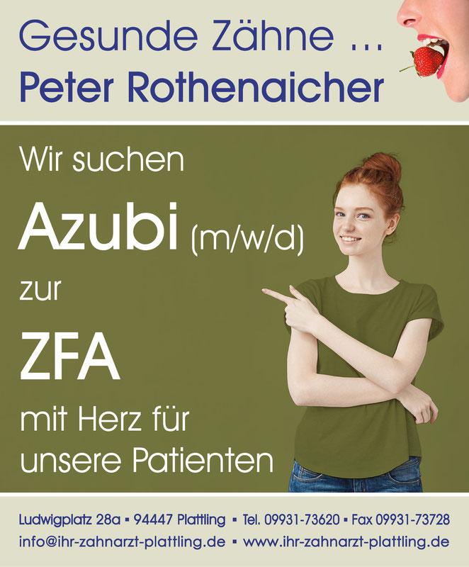 Anzeige für Auszubildende zur ZFA © Petra Rothenaicher und AdobeStock