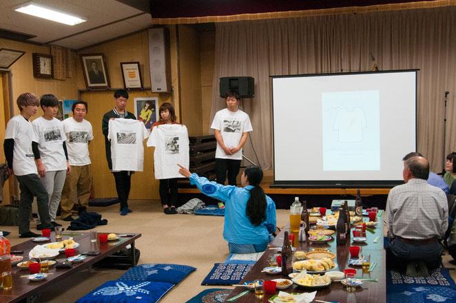 学生さん達が製作した山口大根PRのためのプリントTシャツ(総会にて)。
