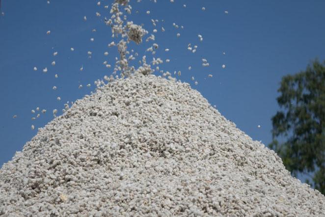 Ein ganzer Berg fair gehandelter Bio-Baumwolle.