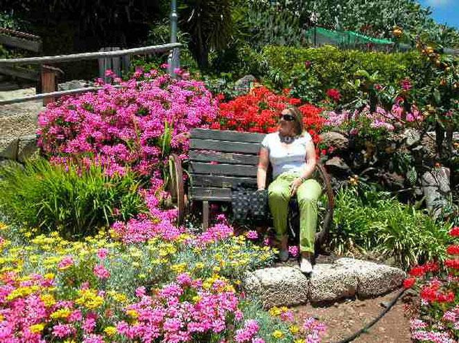 Garten mit Sitzplätzen auf der blühenden Finca in länlicher Umgebung von Guia de Isora auf Teneriffa