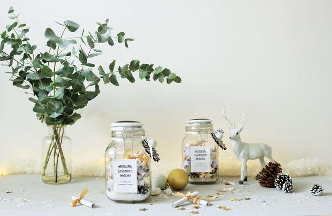 Bild: DIY Adventskalender im Glas to-go selber machen – Upcycling und zerp waste Adventskalender im Drahtbügelglas mit Gedichten und Sprüchen gestalten, ohne Schokolade oder Geschenke // Partystories.de // Blogparade #bloggingaroundthechristmastree