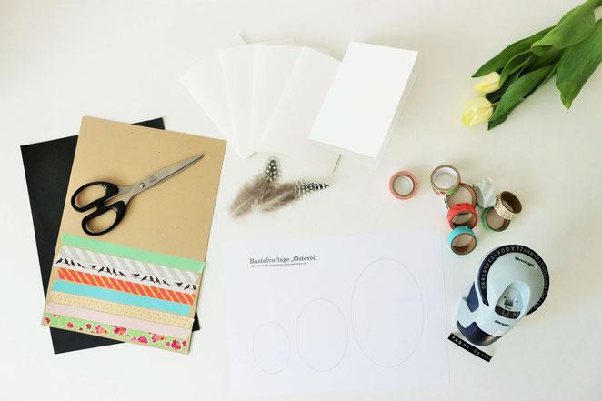 Bild: Grußkarten für Ostern basteln – mit dieser Anleitung und Bastelvorlage für Ostereier, ganz einfach individuelle und kreative Osterkarten selber machen // gefunden auf www.partystories.de // #Ostern #Osterkarte #Bastelvorlage