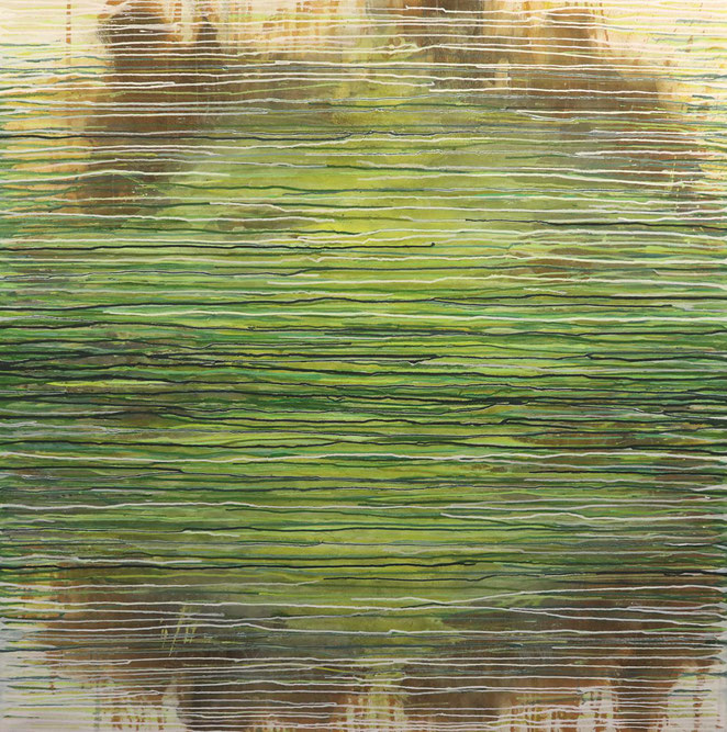 abstraktes Bild · Weiss · Braun · Grün · Patrick Öxler · Wiede Fabrik · Atelier