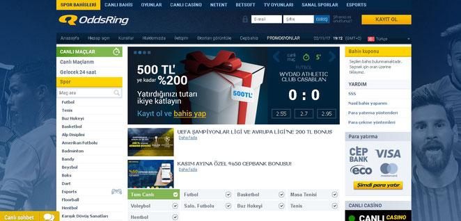 Oddsring Ana Sayfa Ekran Görüntüsü