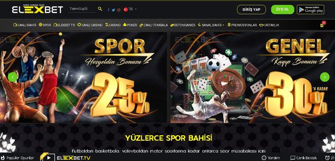 Elexbet Ana Sayfa Ekran Görüntüsü