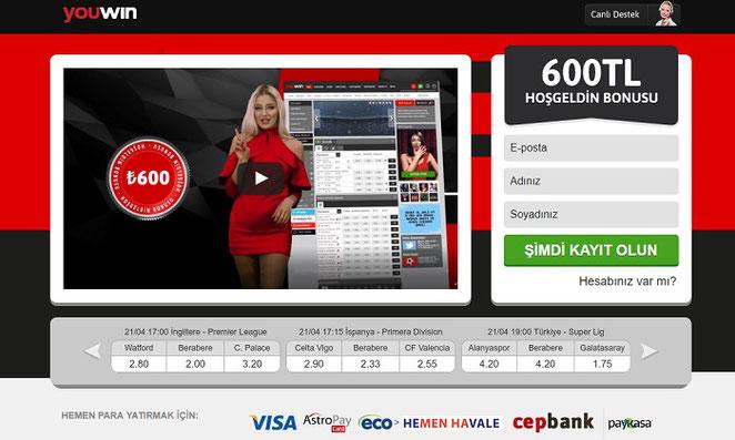 Youwin Ana Sayfa Ekran Görüntüsü