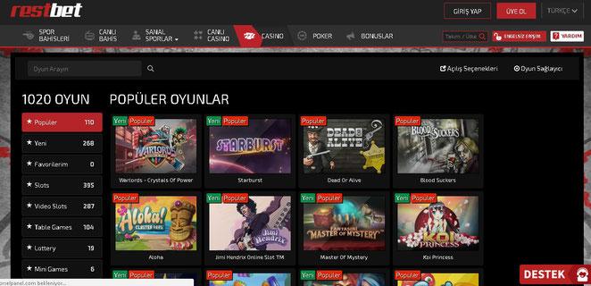 Restbet Casino Ekran Görüntüsü