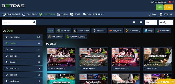 Betpas Canlı Casino Ekran Görüntüsü