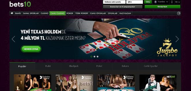 Bets10 Canlı Casino Ekran Görüntüsü