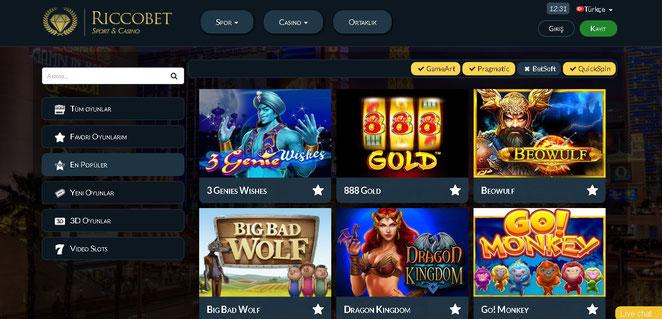 Riccobet Casino Ekran Görüntüsü