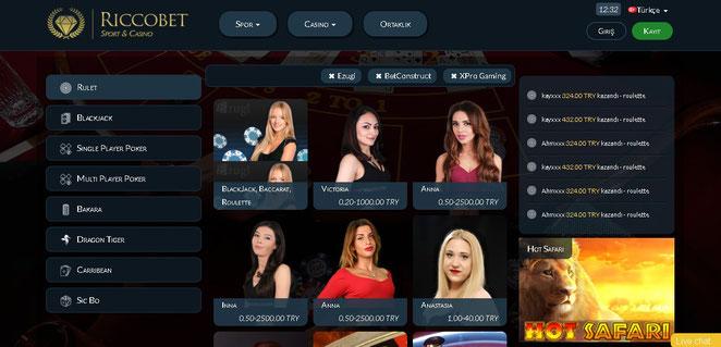 Riccobet Canlı Casino Ekran Görüntüsü