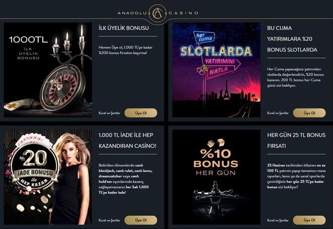Anadolu Casino Bonuslar Ekran Görüntüsü