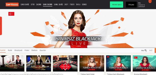 Betboo Canlı Casino Ekran Görüntüsü