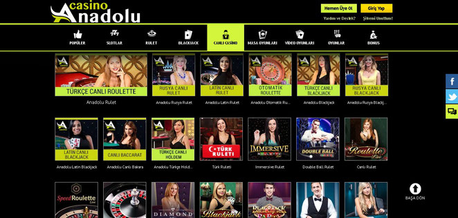 Anadolu Casino Canlı Casino Ekran Görüntüsü