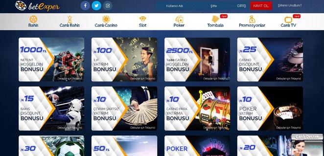 Betexper Bonuslar Ekran Görüntüsü