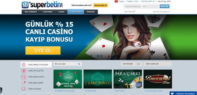 Süperbetin Canlı Casino Ekran Görüntüsü