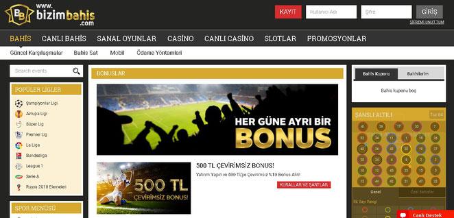 Bizimbahis Bonuslar Ekran Görüntüsü