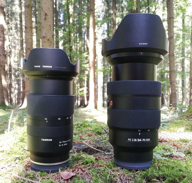 Tamron 28-75mm vs. Sony 24-70mm, Vergleich Größe.