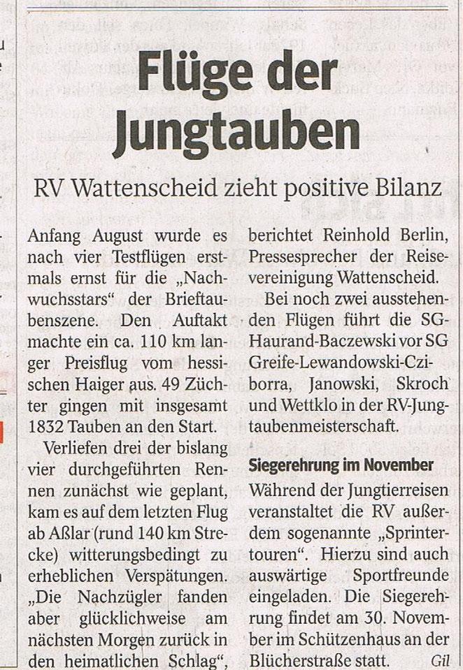 Bericht vom 30.08.2013 in der WAZ-Wattenscheid.