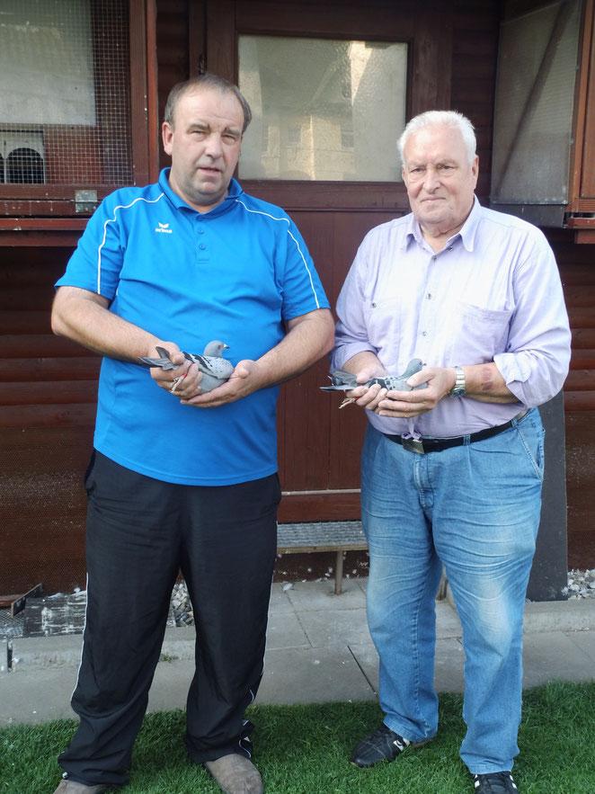 Jürgen Greife & Manfred Lewandowski mit den Siegertauben