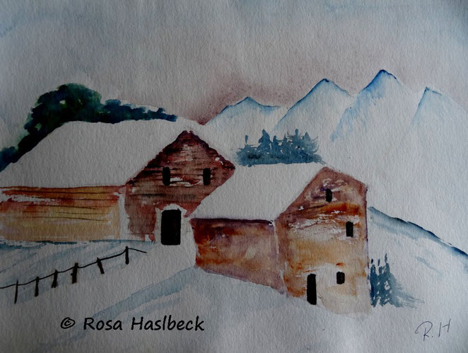 aquarell, winteraquarell, winter, landschaft, gebirge, schnee, bild, kunst, bild, kaufen