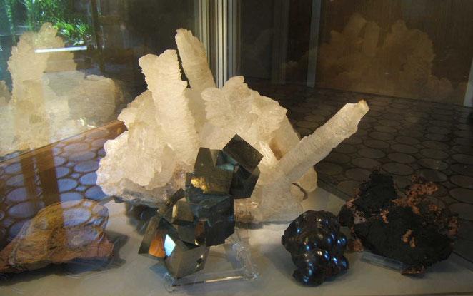 Ammonit - Gips (Calciumsulfat) - Pyrit (Eisensulfat) - Bluteisenstein - gediegenes Kupfer