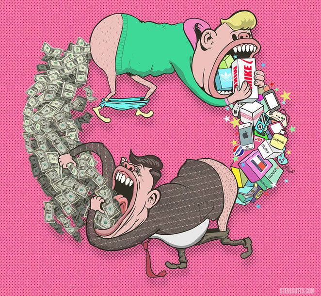 """Steve Cutts, """"The circle of life"""""""