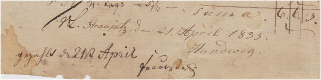 """Unterschrift Feuerstocks, 1833. Rechnung fürs Ausheben von Birkenpflänzlingen aus """"Davids Luge""""."""