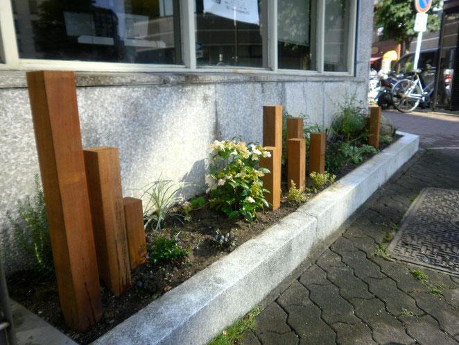 店舗前の植栽リフォーム工事