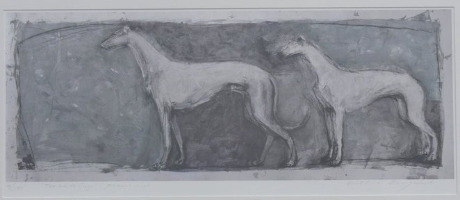 Two White Greys. Artist Kristina Krogdal. Limited edition of 150.
