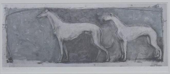 Two White Greys. Artist Kristina Krogdal. Limited edition of 150.